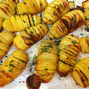 Garlic and Chive Hasselback Potatoes