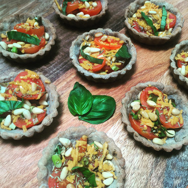 Buckwheat Tarts with Basil Pesto