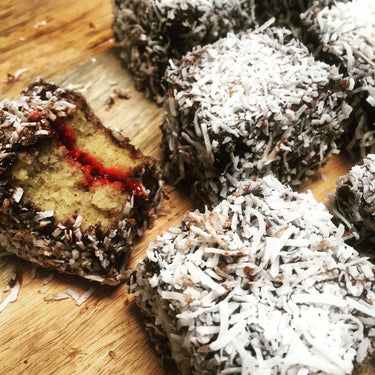 Lamingtons with Raspberry Chia Jam
