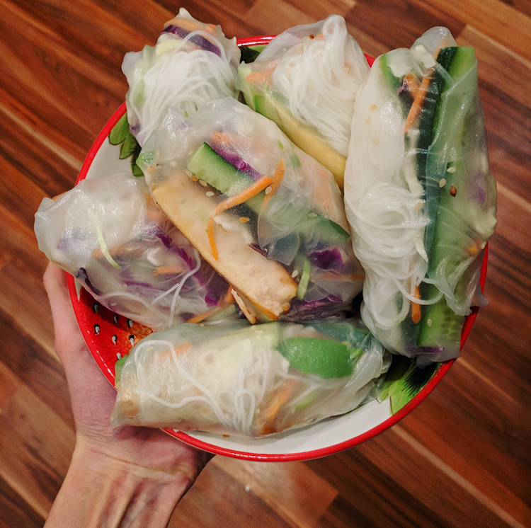 Tofu Rice Paper Rolls with Peanut Sauce