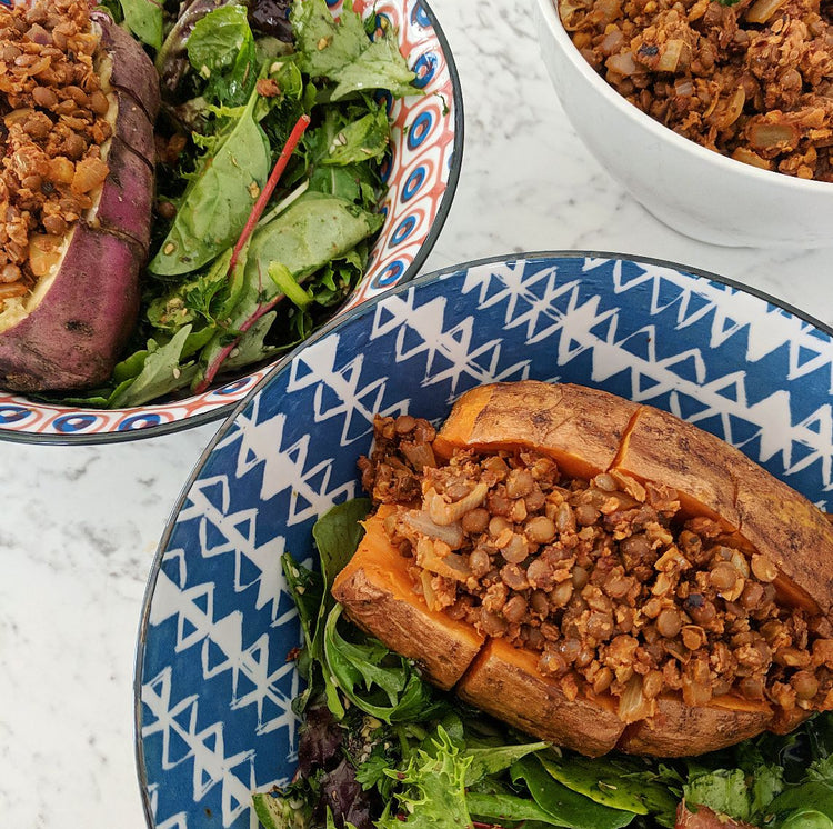 Stuffed Sweet Potatoes with Walnut Mince