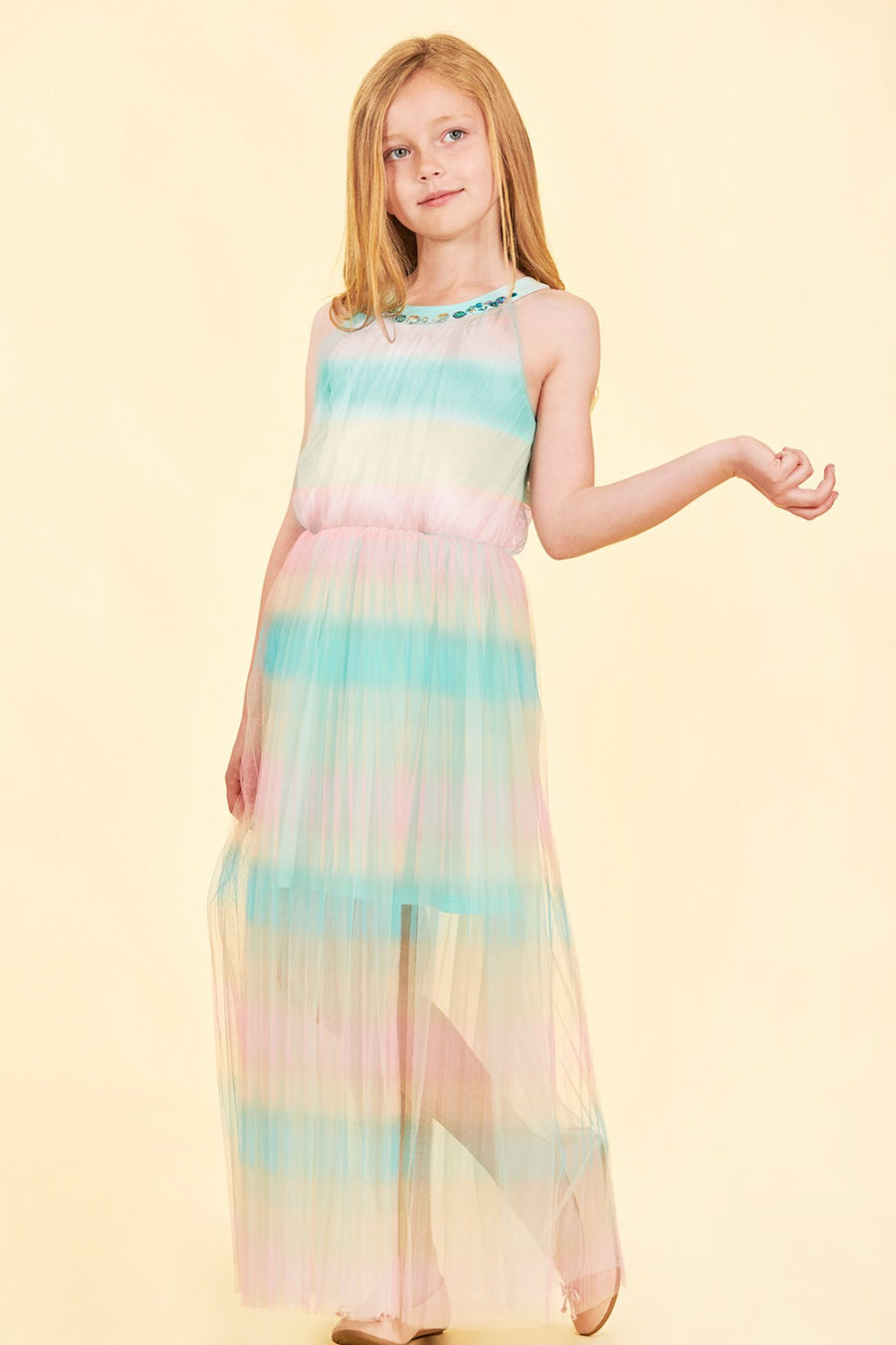 TRULY ME TWEEN GIRLS RAINBOW PLEATED DRESS
