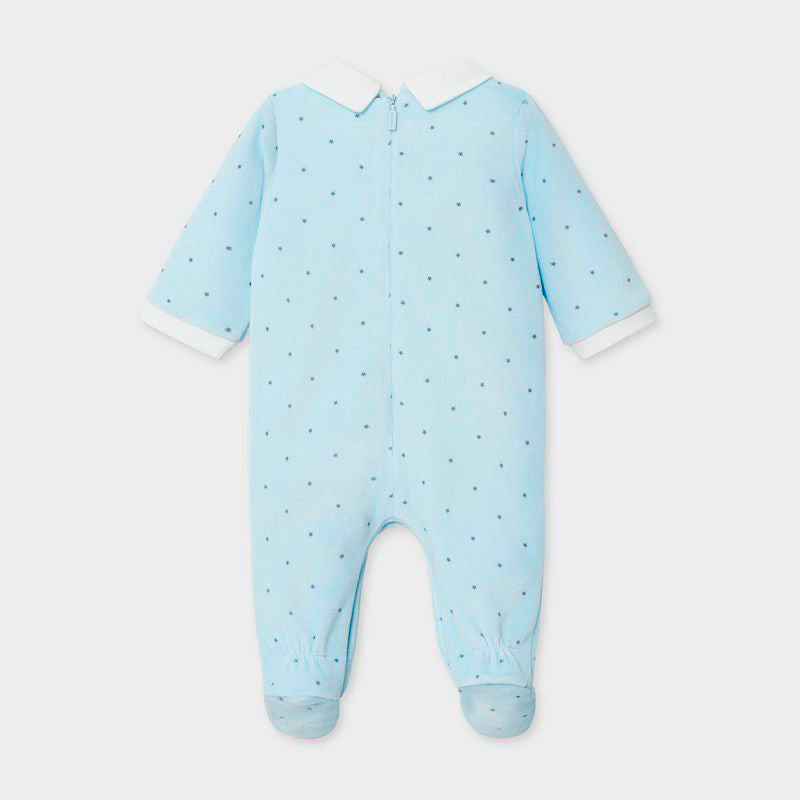 MAYORAL BABY BOY POLKA DOT VELOUR SLEEPER
