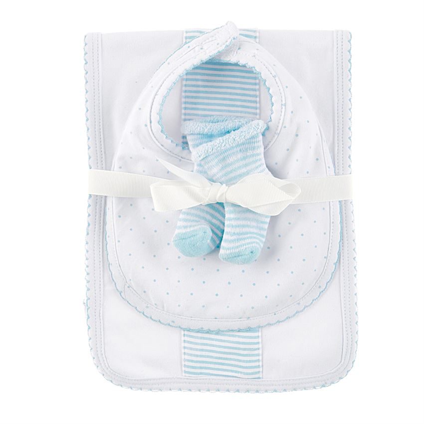 BABY BOY BURP, BIB AND SOCK SET