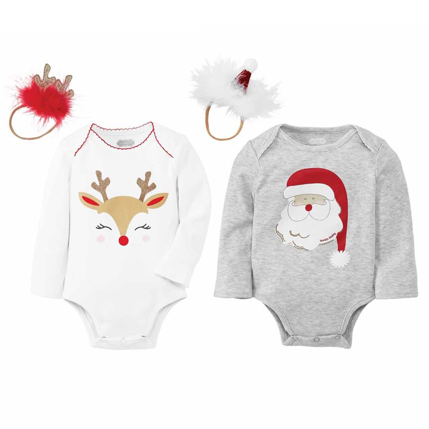 MUDPIE CHRISTMAS ONESIE AND HEADBAND