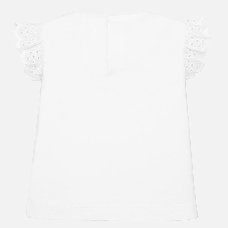 MAYORAL BABY GIRLS RUFFLE EYELET SLEEVE SHIRT