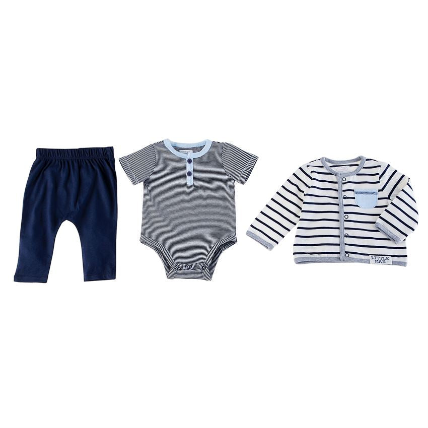 "MUD PIE BABY BOYS ""LITTLE MAN"" 3 PIECE SET"
