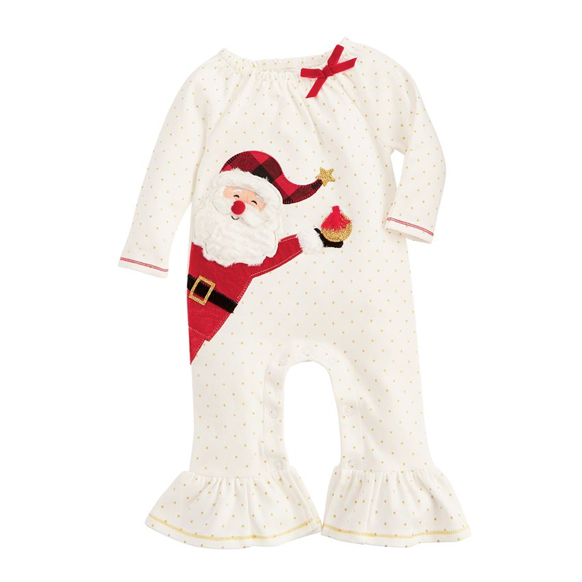 MUD PIE BABY GIRLS SANTA ROMPER