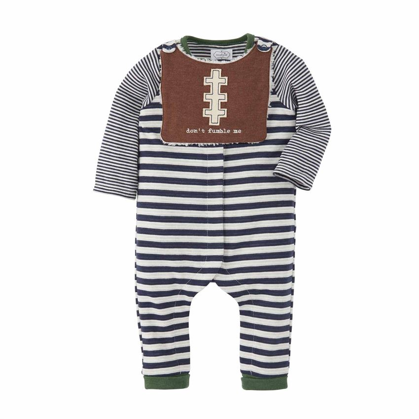 MUD PIE BABY BOY FOOTBALL OVERALL SET