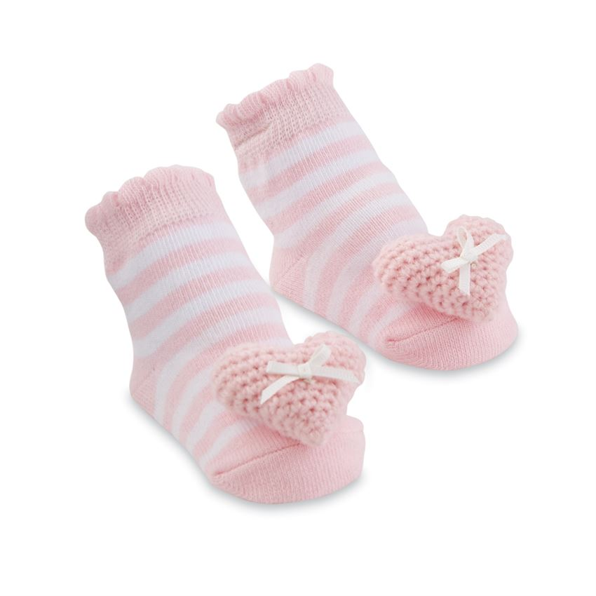 MUD PIE BABY GIRL HEART RATTLE SOCKS