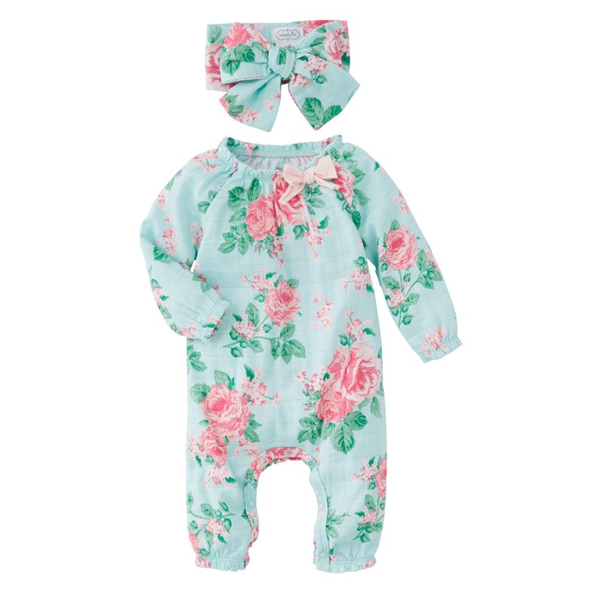 MUD PIE BABY GIRL MUSLIN FLORAL SLEEPER