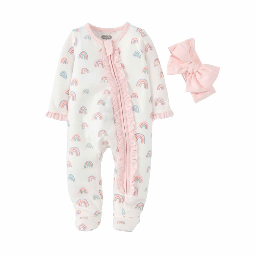 BABY GIRL RAINBOW SLEEPER WITH HEADBAND