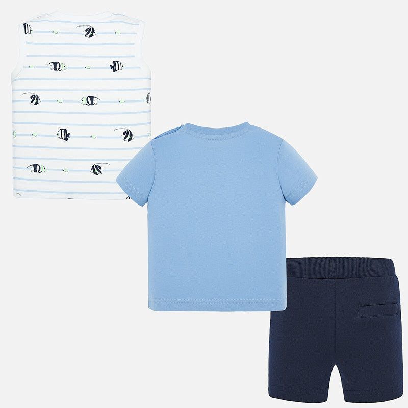 MAYORAL BABY BOYS KNIT SHORTS AND 2-SHIRTS SET