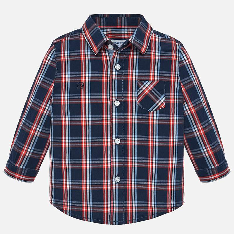MAYORAL BOYS POPLIN CHECK BUTTON UP
