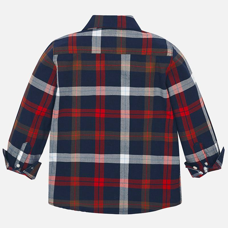 MAYORAL BOYS SLIM FIT PLAID BUTTON UP