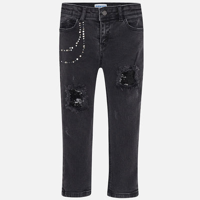 MAYORAL DISTRESSED DENIM WITH SEQUIN