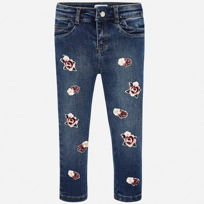 MAYORAL GIRLS ROSE EMBROIDERED JEANS