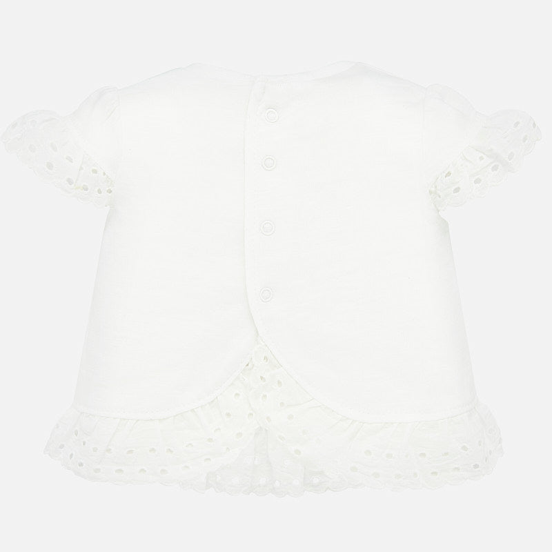 MAYORAL BABY GIRL RUFFLED SHORT SLEEVE SHIRT