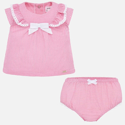 MAYORAL BABY GIRL SHIRT AND BLOOMER SEERSUCKER SET