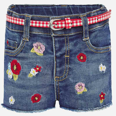 MAYORAL BABY GIRLS EMBROIDERED DENIM SHORTS
