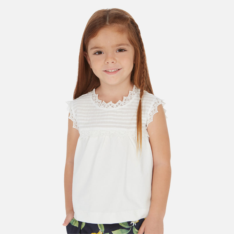 MAYORAL GIRLS LACE TRIMMED T-SHIRT