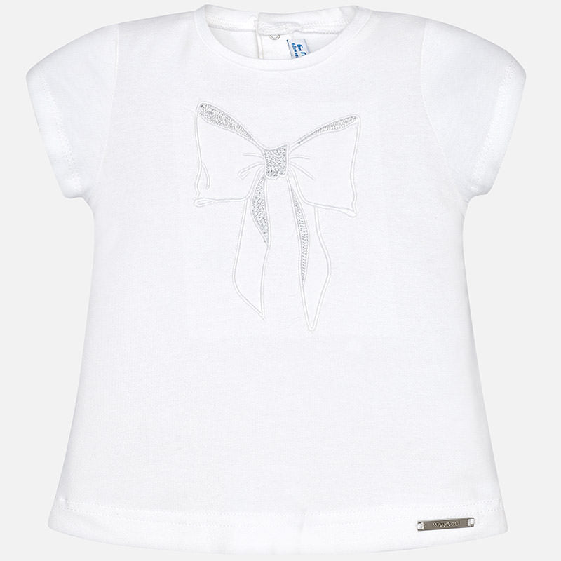 Mayoral, MAYORAL BABY GIRLS BOW SHORT SLEEVE SHIRT - James & Olive