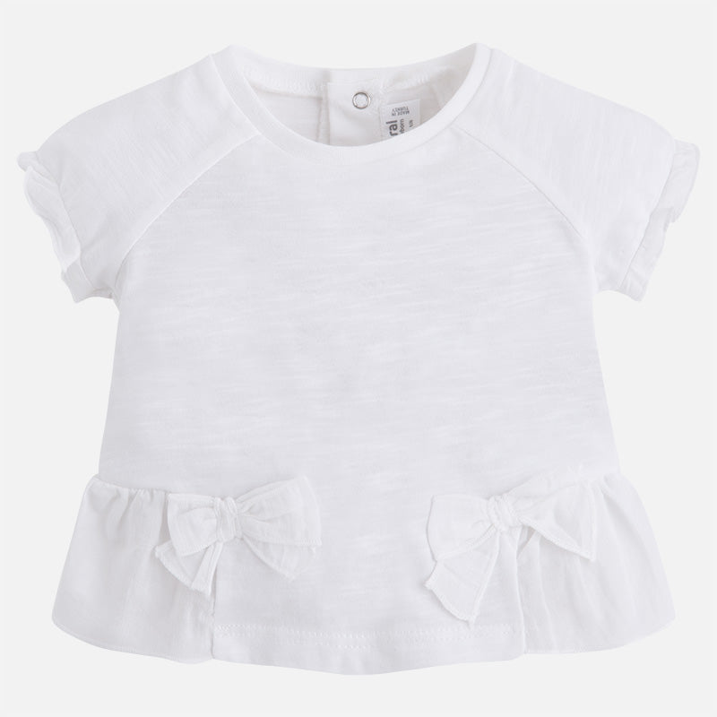 Mayoral, MAYORAL BABY GIRLS SHORT SLEEVE T-SHIRT WITH BOWS - James & Olive