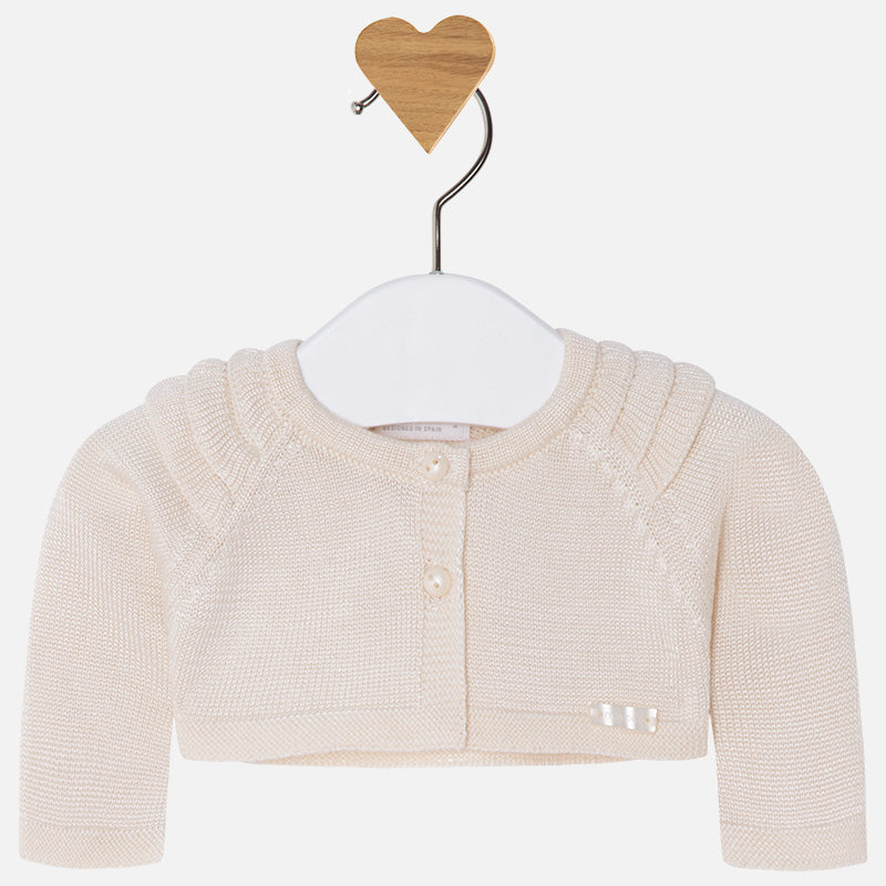 Mayoral, MAYORAL BABY GIRLS KNIT CARDIGAN WITH RUFFLES - James & Olive
