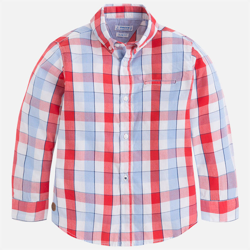 Mayoral, MAYORAL BOYS LONG SLEEVE CHECKERED SHIRT - James & Olive