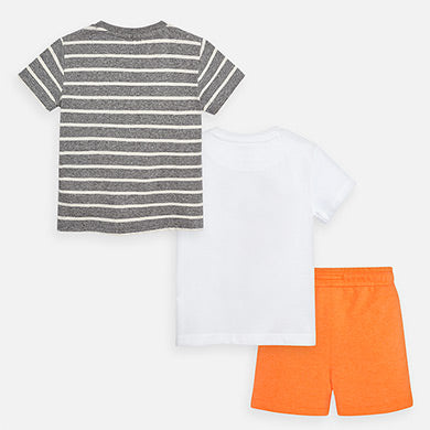MAYORAL BOYS SHORT SET WITH 2-SHIRTS