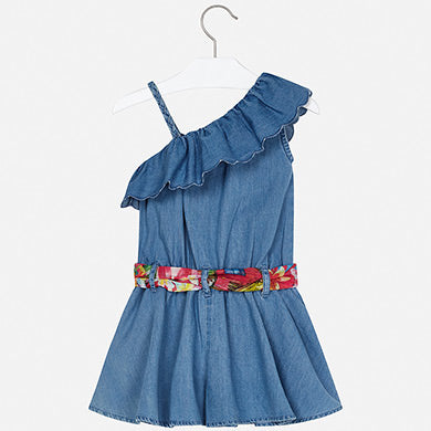 MAYORAL GIRLS DENIM JUMPSUIT WITH BELT