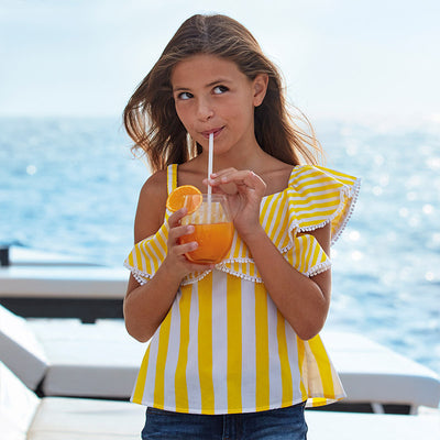 MAYORAL TWEEN GIRLS STRIPED POPLIN SHIRT