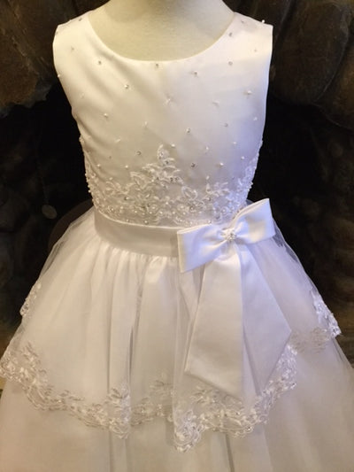 Christie Helene, CHRISTIE HELENE TIERED COMMUNION DRESS WITH FRONT BOW - James & Olive