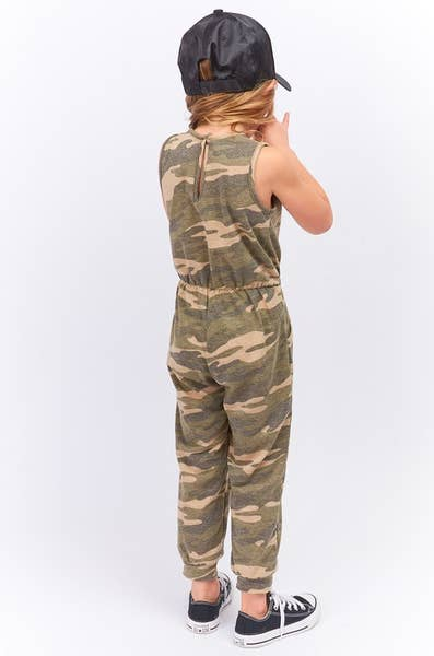 GIRLS CAMO PRINT JUMPSUIT