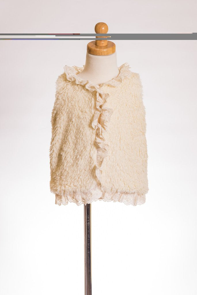 ML Kids, ML KIDS IVORY LACE FUZZY VEST - James & Olive