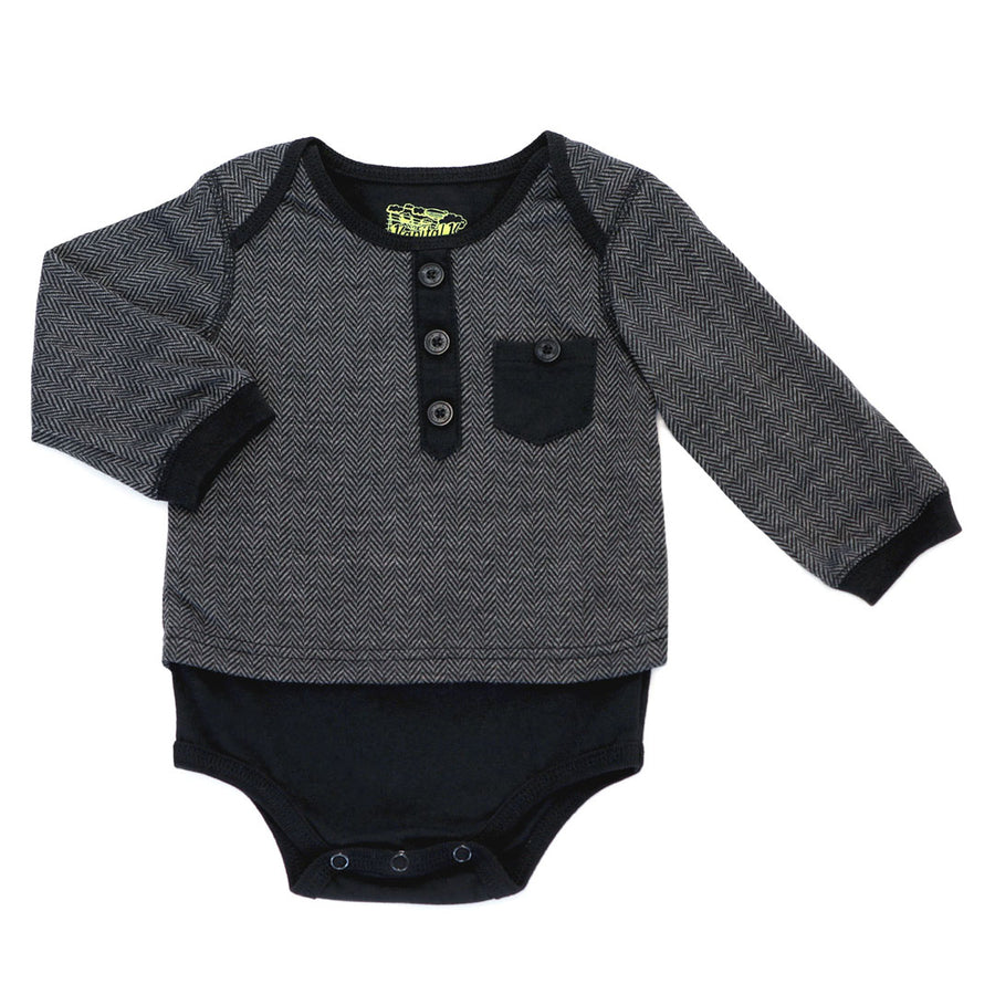 KAPITAL K BABY BOYS HERRINGBONE BODYSUIT WITH POCKET