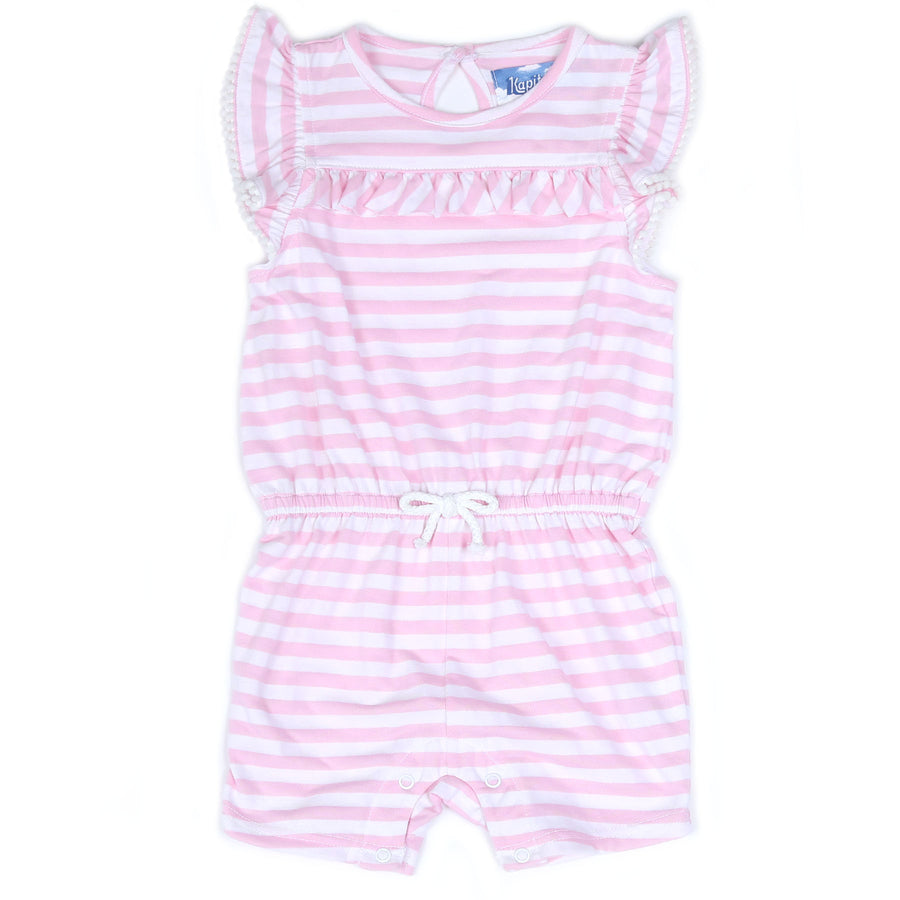 KAPITAL K GIRLS RUFFLED ROMPER WITH POM POMS