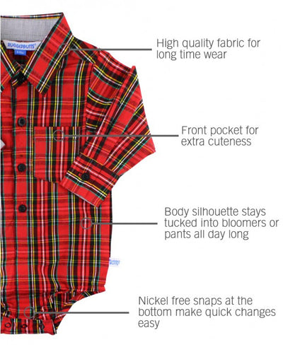 Rugged Butts, RUGGED BUTTS BABY BOYS PLAID BUTTON-UP BODYSUIT - James & Olive