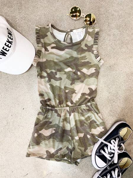 GIRLS CAMO RUFFLED ROMPER
