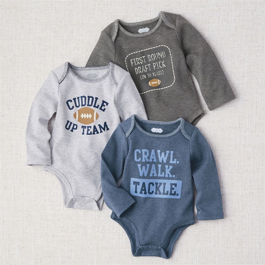 MUD PIE BABY BOY FOOTBALL CRAWLERS