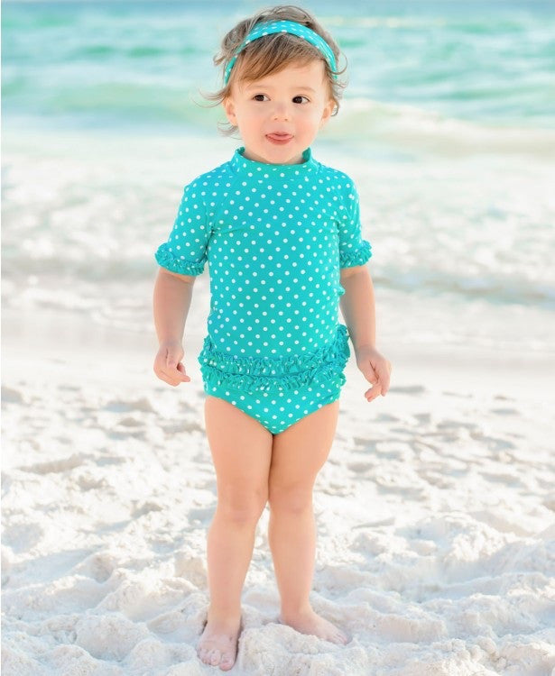 Ruffle Butts, RUFFLE BUTTS POLKA DOT RASH GUARD SET - James & Olive