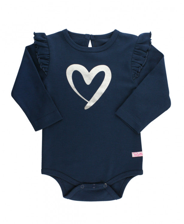 Ruffle Butts, RUFFLE BUTTS BABY GIRLS NAVY HEART FLUTTER BODYSUIT - James & Olive