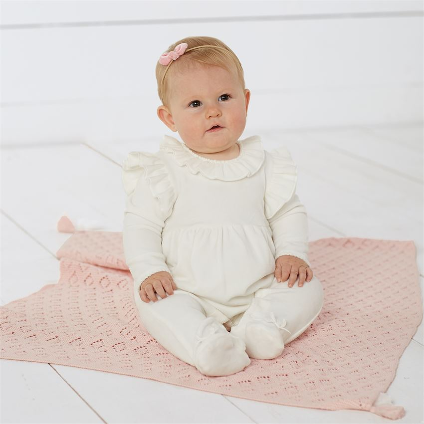 MUD PIE BABY GIRLS RUFFLE VELVET SLEEPER
