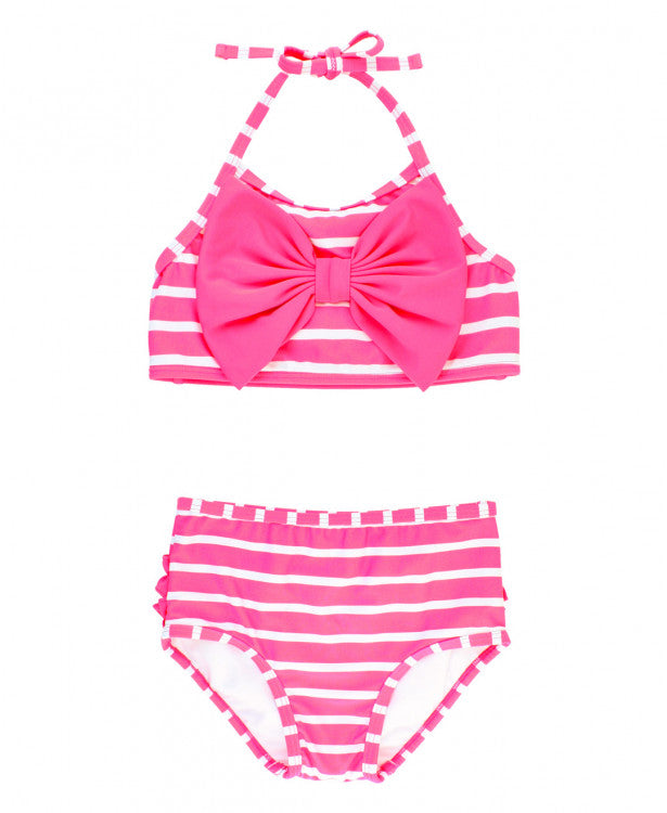 Ruffle Butts, RUFFLE BUTTS CANDY STRIPE BOW BIKINI - James & Olive