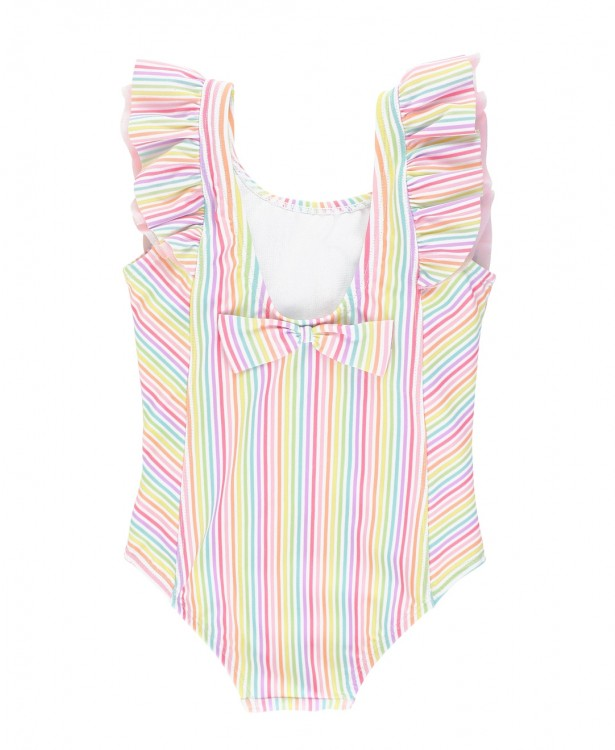 RUFFLE BUTTS RAINBOW STRIPE WATERFALL SWIMSUIT