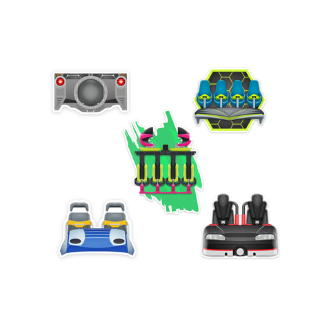 Roller Coaster Train Sticker Pack