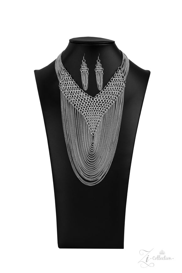 Defiant 2020- Paparazzi Exclusive Zi Collection Silver Necklace - Paparazzi Accessories