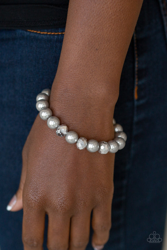 Really Resplendent - Silver Crystal Bead & Pearl Bracelet - Paparazzi Accessories