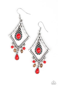 Southern Sunsets - Red Teardrop Kite Shape Earrings - Paparazzi Accessories