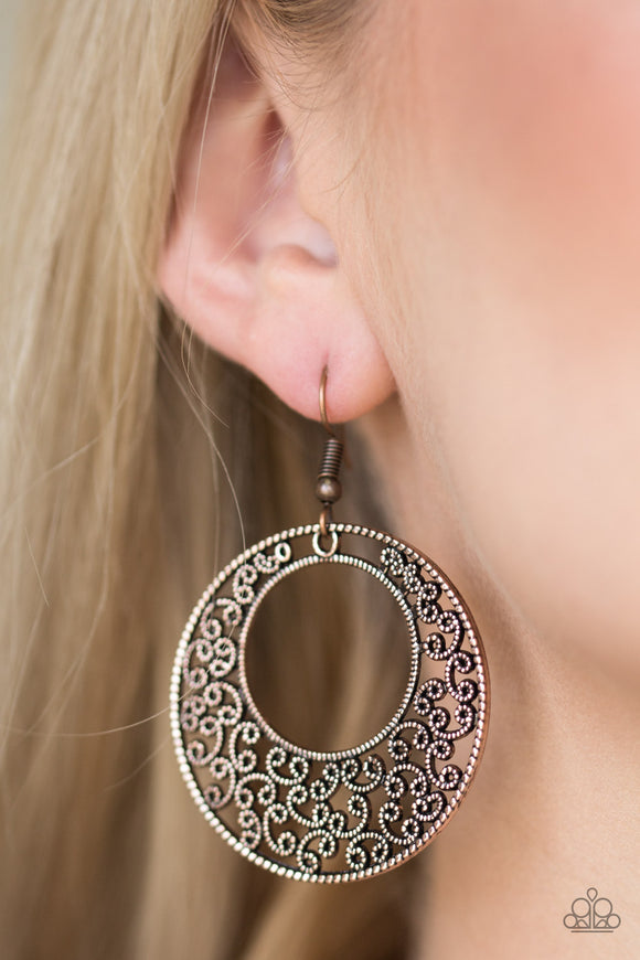 Wistfully Winchester - Copper Filigree Earrings - Paparazzi Accessories